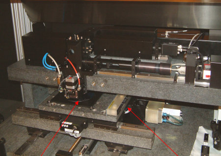 The laser imagesetter writes the design data directly on the wafer surface. The beam comes with acousto-optical elements moved and modulated.